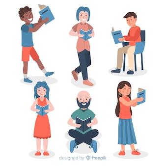 Pack de jeunes lisant des livres
