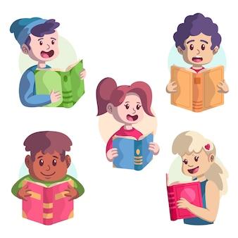 Pack de jeunes lisant