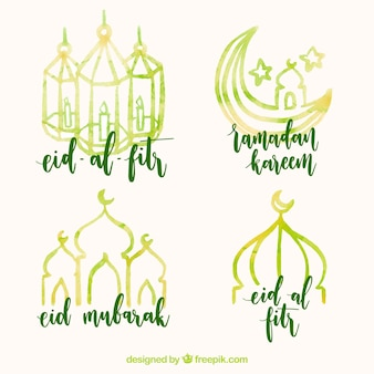 Pack de jolies autocollants en aquarelle de ramadan