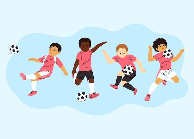 Pack de joueurs de football de dessin animé