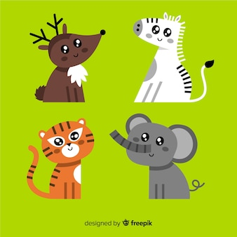 Pack kawaii d'animaux dessinés à la main