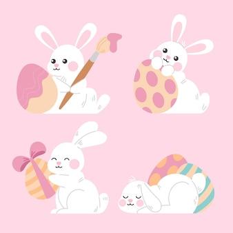 Pack de lapin de pâques dessiné à la main