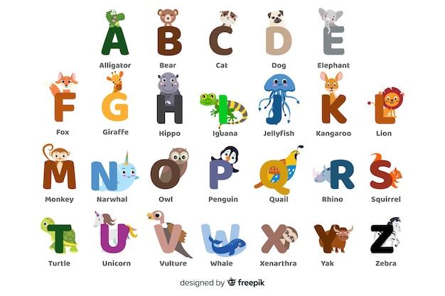 Pack de lettres d'animaux colorées