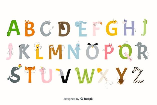 Pack de lettres animaux design plat