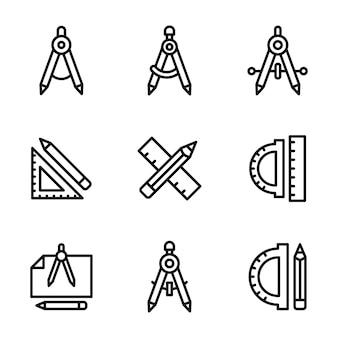 Pack de lignes de boussole géométrique et d'échelle