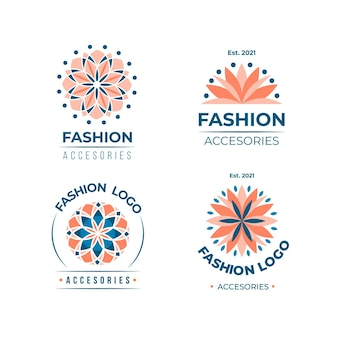 Pack de logo d'accessoires de mode design plat