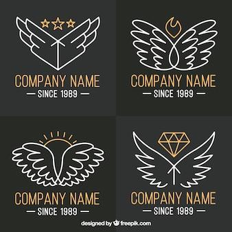 Pack de logo d'ailes avec des détails dorés