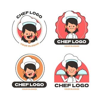 Pack de logo de chef féminin plat linéaire
