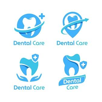 Pack de logo dentaire design plat