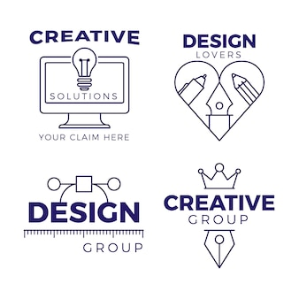 Pack de logo de graphiste design plat
