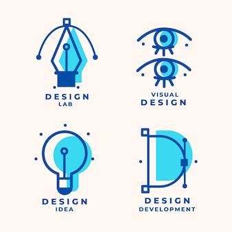 Pack de logo de graphiste plat