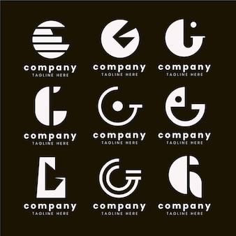 Pack de logo lettre g design plat