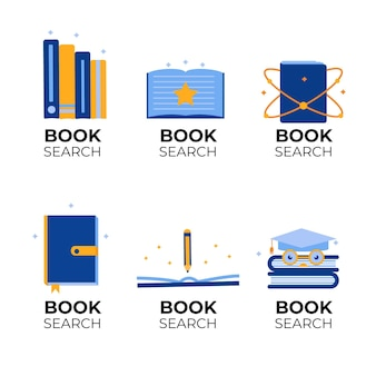 Pack de logo de livre design plat