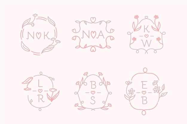 Pack de logo monogramme de mariage dessiné à la main