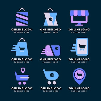 Pack de logos e-commerce design plat