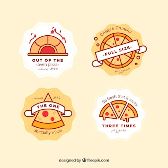 Pack de logos de pizza en estilo linéaire