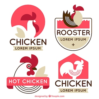 Pack de logos plats avec coq décoratif