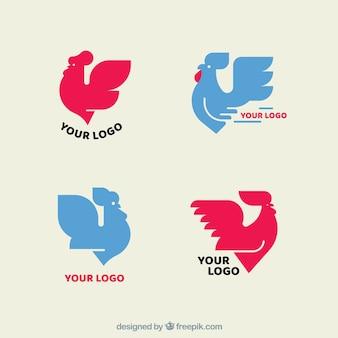 Pack de logos roses et bleus avec des poulets