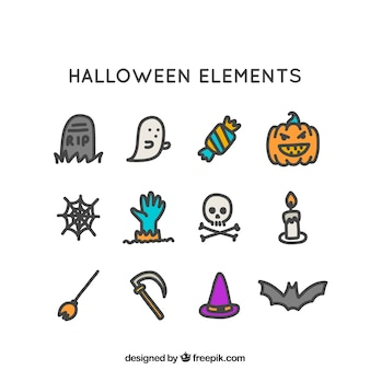 Pack à la main d'éléments d'halloween