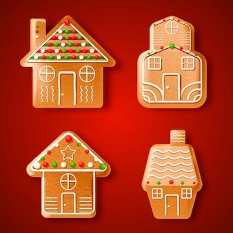 Pack maison de pain d'épice dessiné à la main