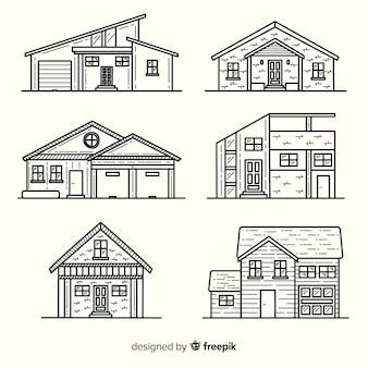 Pack de maisons dessinées à la main
