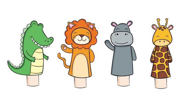 Pack de marionnettes adorables dessinées à la main