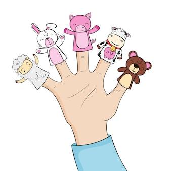 Pack de marionnettes à doigts adorables dessinés à la main