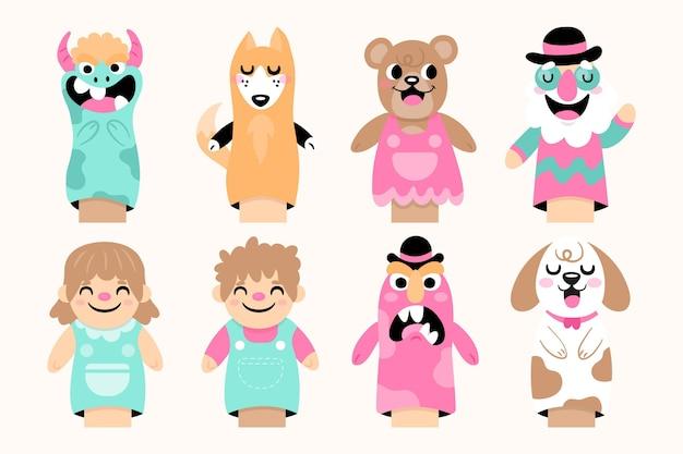 Pack de marionnettes à main dessinés à la main