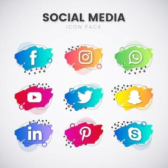 Pack de médias sociaux avec des formes géométriques
