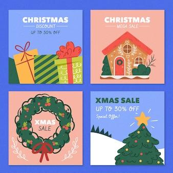 Pack de messages instagram de vente de noël