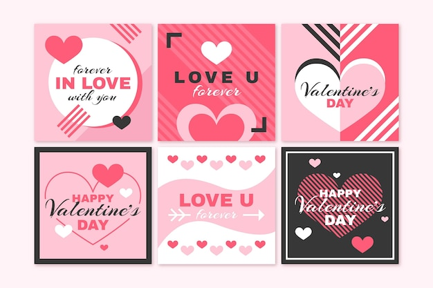 Pack de messages modernes de la saint-valentin