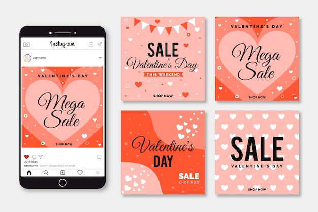 Pack de messages promotionnels pour la saint-valentin