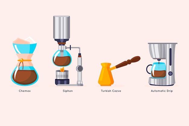 Pack de méthodes de préparation de café design plat