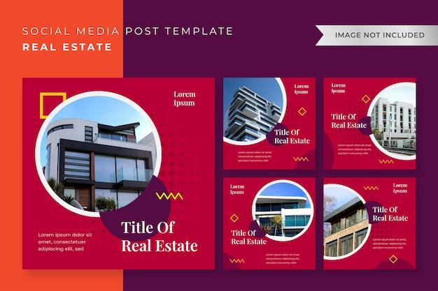 Pack modèle de conception de l'immobilier instagram