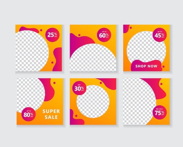 Pack de modèles de bannière de médias sociaux pour les histoires et les publications