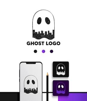 Pack de modèles de concept de logo d'espace négatif de ville fantôme