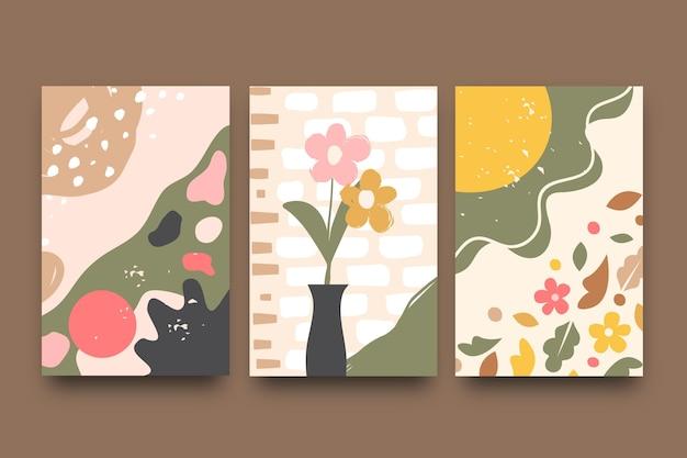 Pack de modèles de couvertures de formes dessinées à la main abstraites