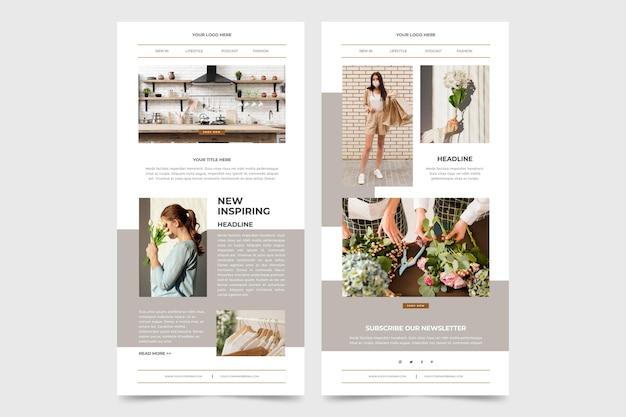 Pack de modèles d'e-mails blogger avec photos