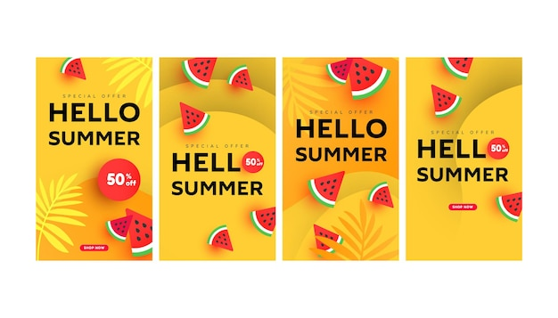 Pack de modèles d'histoires de bannière de vente d'été modifiable avec des éléments de pastèque en tranches, un liquide de forme minimale