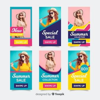 Pack de modèles d'histoires d'instagram de vente d'été
