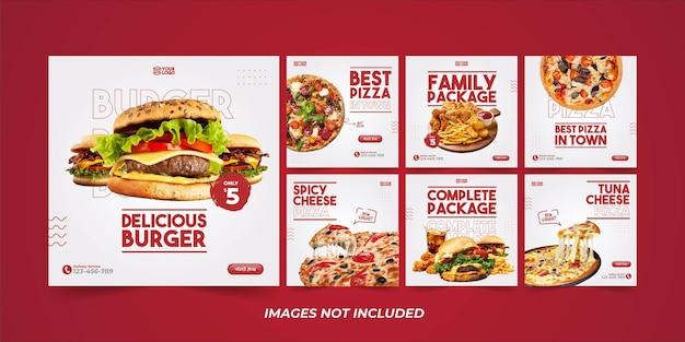 Pack De Modèles Instagram Alimentaires Minimalistes Pour La Promotion Des Médias Sociaux Vecteur Premium