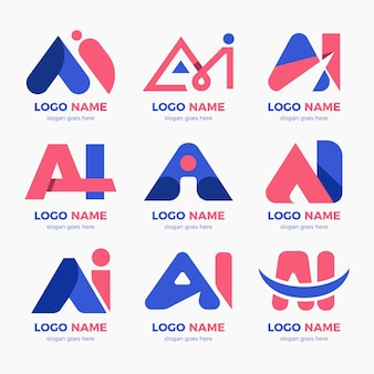 Pack de modèles de logo ai design plat
