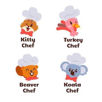 Pack de modèles de logo chef design plat