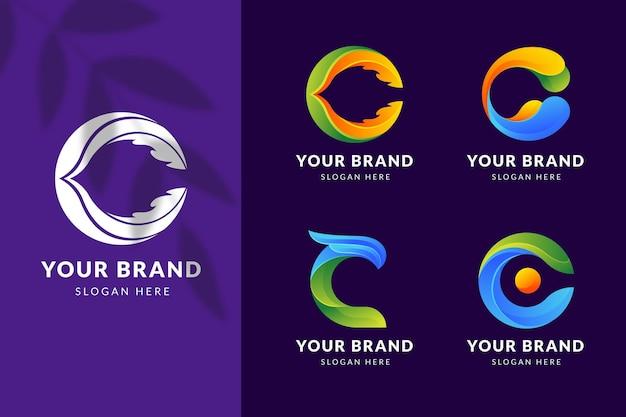 Pack de modèles de logo c dégradé de couleur