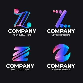 Pack de modèles de logo lettre z dégradé