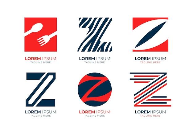 Pack de modèles de logo lettre z design plat