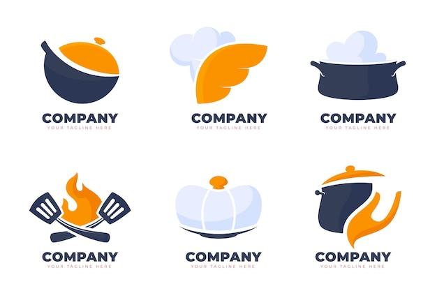 Pack De Modèles De Logo De Restauration à Plat Vecteur gratuit