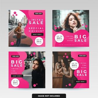 Pack de modèles de publication de médias sociaux liquides