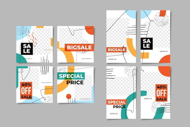 Pack de modèles de publications et d'histoires créatives sur les réseaux sociaux