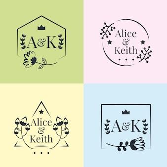 Pack de monogrammes mariage couleurs pastel minimalistes